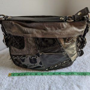 COACH Zoe Patchwork Hobo Black Gray Purse 12901